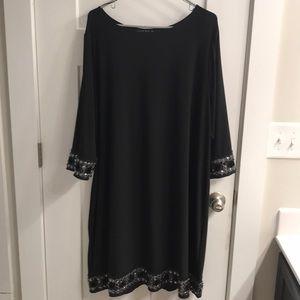 Tiana B. Black Beaded Accent Dress (22W)
